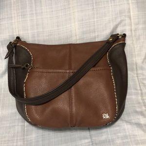 THE SAK BOHO Brown Leather Hobo Bag Animal Trim